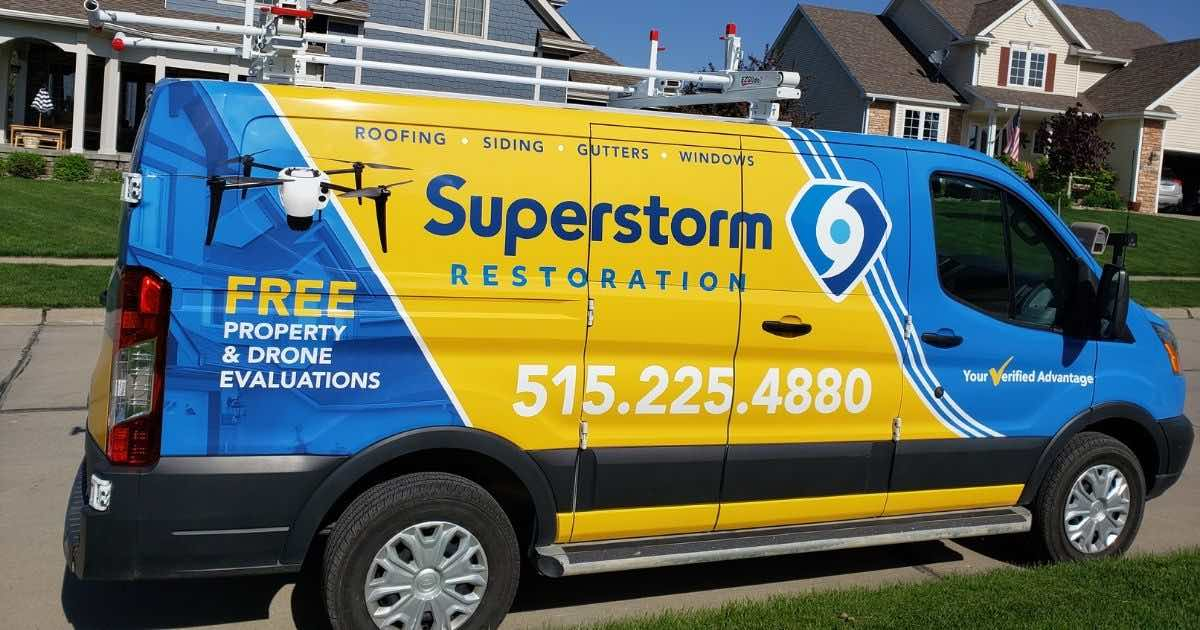 Superstorm Restoration Van for Free Property and Drone Evaluation