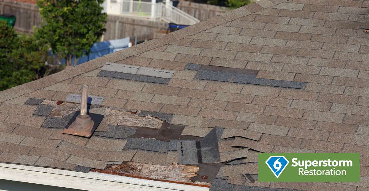 Damage to shingles on a roof