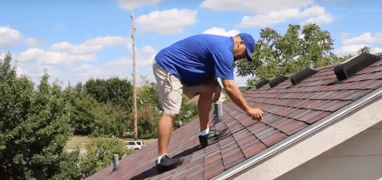 spotting roof damage while on top of a roof.