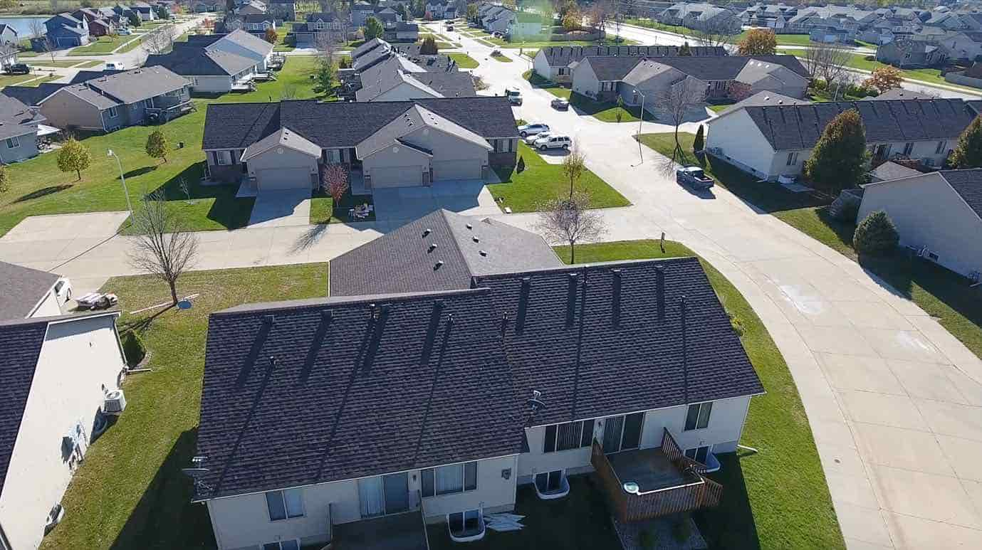 Aerial view of new roof on home