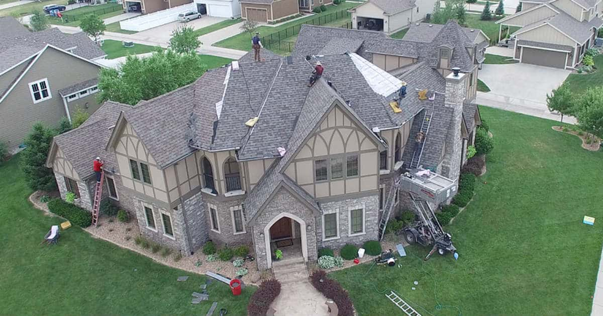 Aerial Image of Roofing Project in Ankeny Iowa